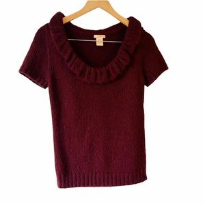Joe Fresh Dark Cherry Women's M Blouse 20% Alpaca